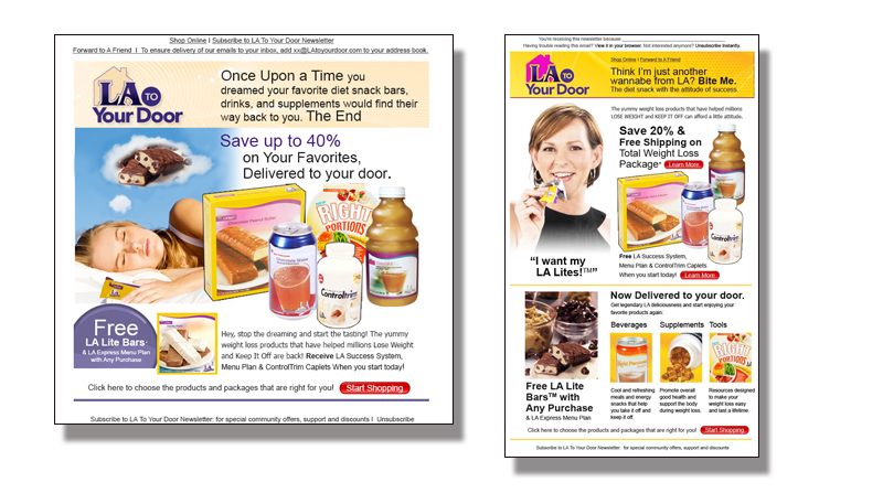 Nutrition & Weightloss Supliment Web-landing Page and e-blast Campaign